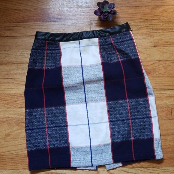 Womens Merona Tartan Plaid Pencil Skirt Faux Leather Waist NWOT